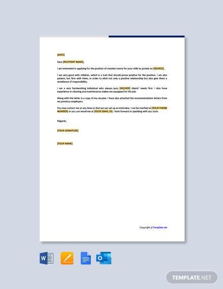 Free Creative Nanny Resume Cover Letter Template