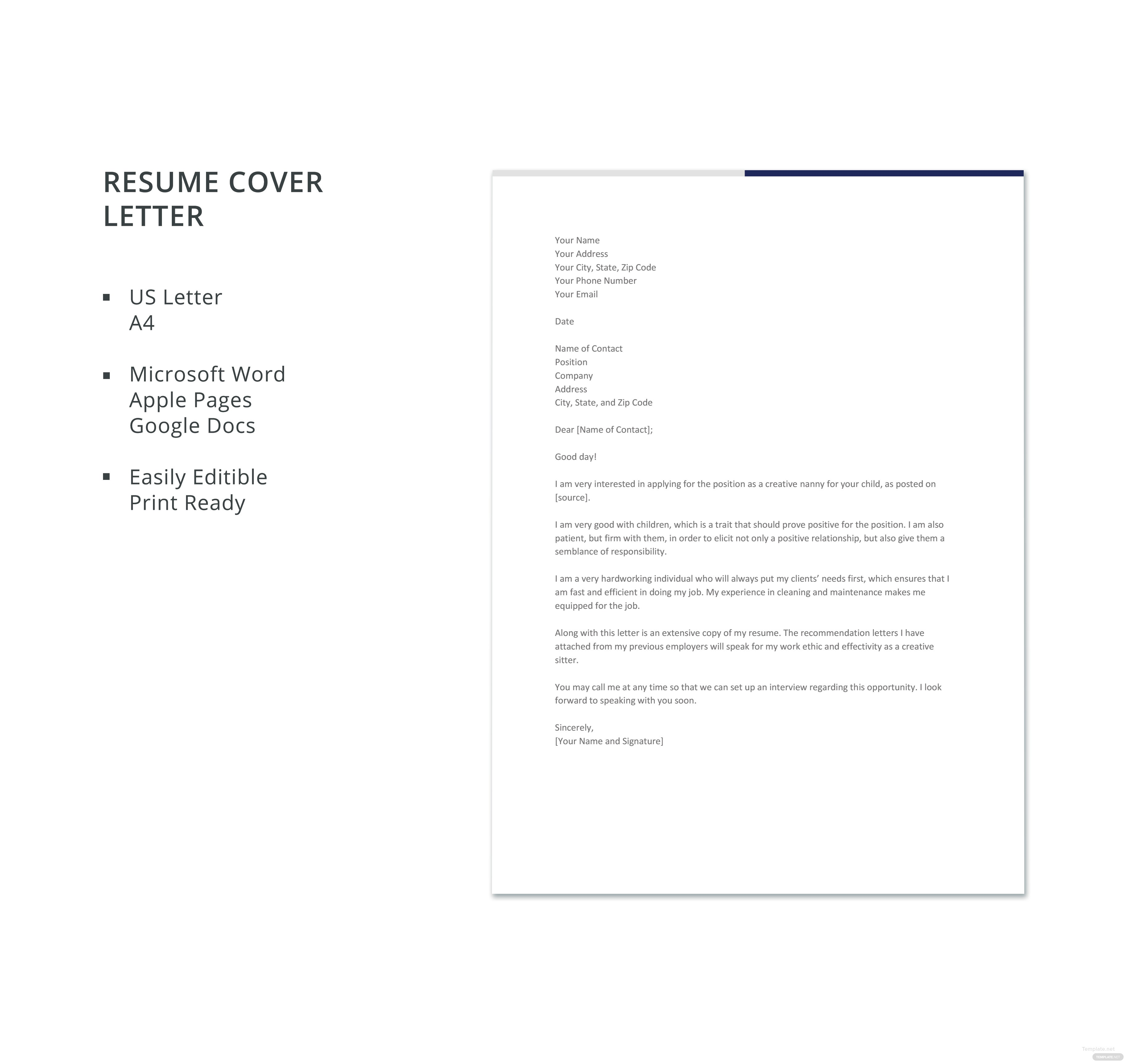 Creative Nanny Resume Cover Letter Template  Creative Cover Letters
