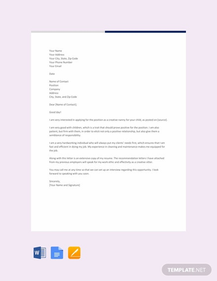FREE Creative Nanny Resume Cover Letter Template - Word ...