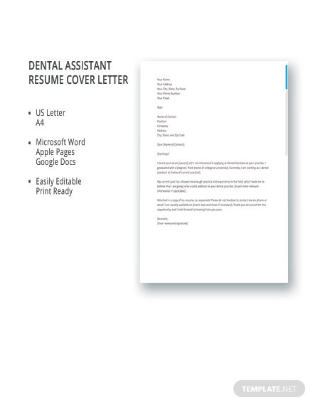 FREE Dental Assistant Resume Cover Letter Template