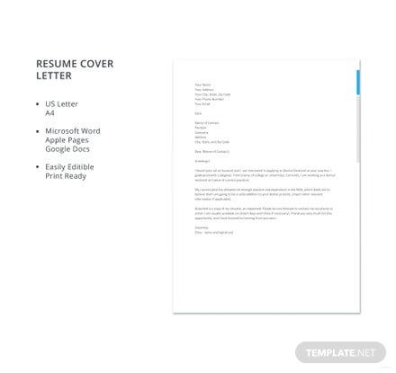 free dental assistant resume cover letter template in microsoft word