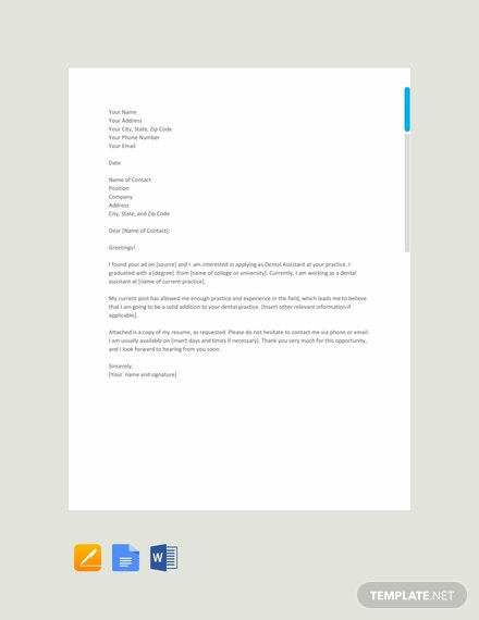 Free Dental Assistant Resume Cover Letter Template Download 700