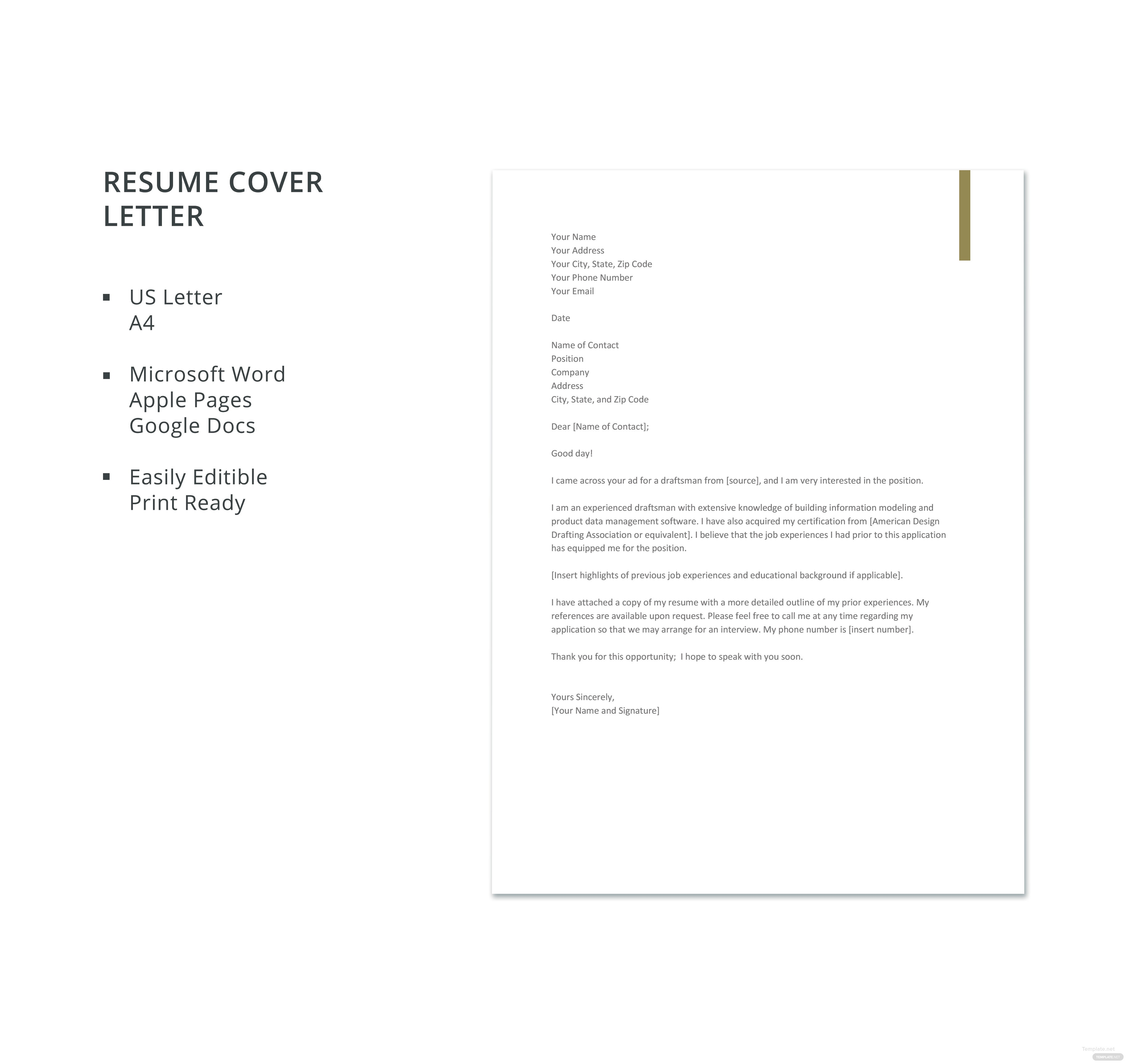 Free Draftsman Resume Cover Letter Template In Microsoft