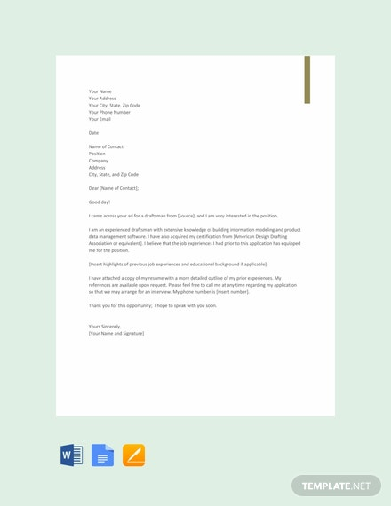 FREE Draftsman Resume Cover Letter Template - Word | Google ...