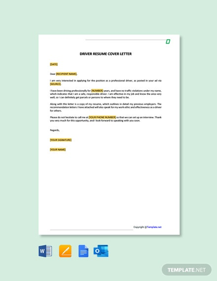 Free Driver Resume Cover Letter Template