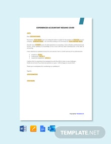 Free Experienced Accountant Resume Cover Letter Template