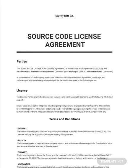 Source Code License Agreement Sample