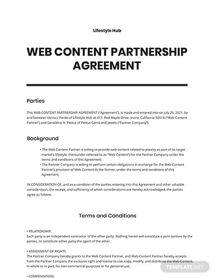Web Content Partnership Agreement