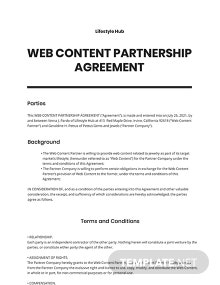 Web Content Partnership Agreement Template