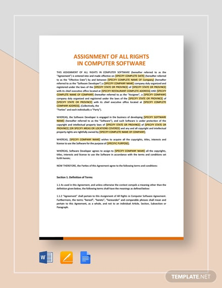 Assignment of All Rights in Computer Software Template