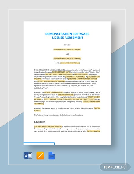 Demonstration Software License Agreement Template