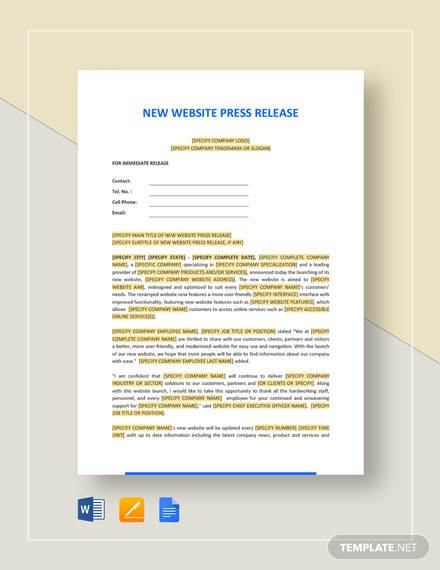 New Website Press Release Template