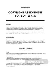 Copyright Assignment For Software Template