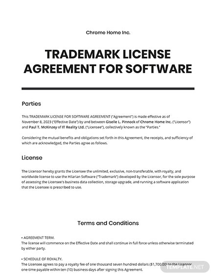 Trademark License Agreement For Software