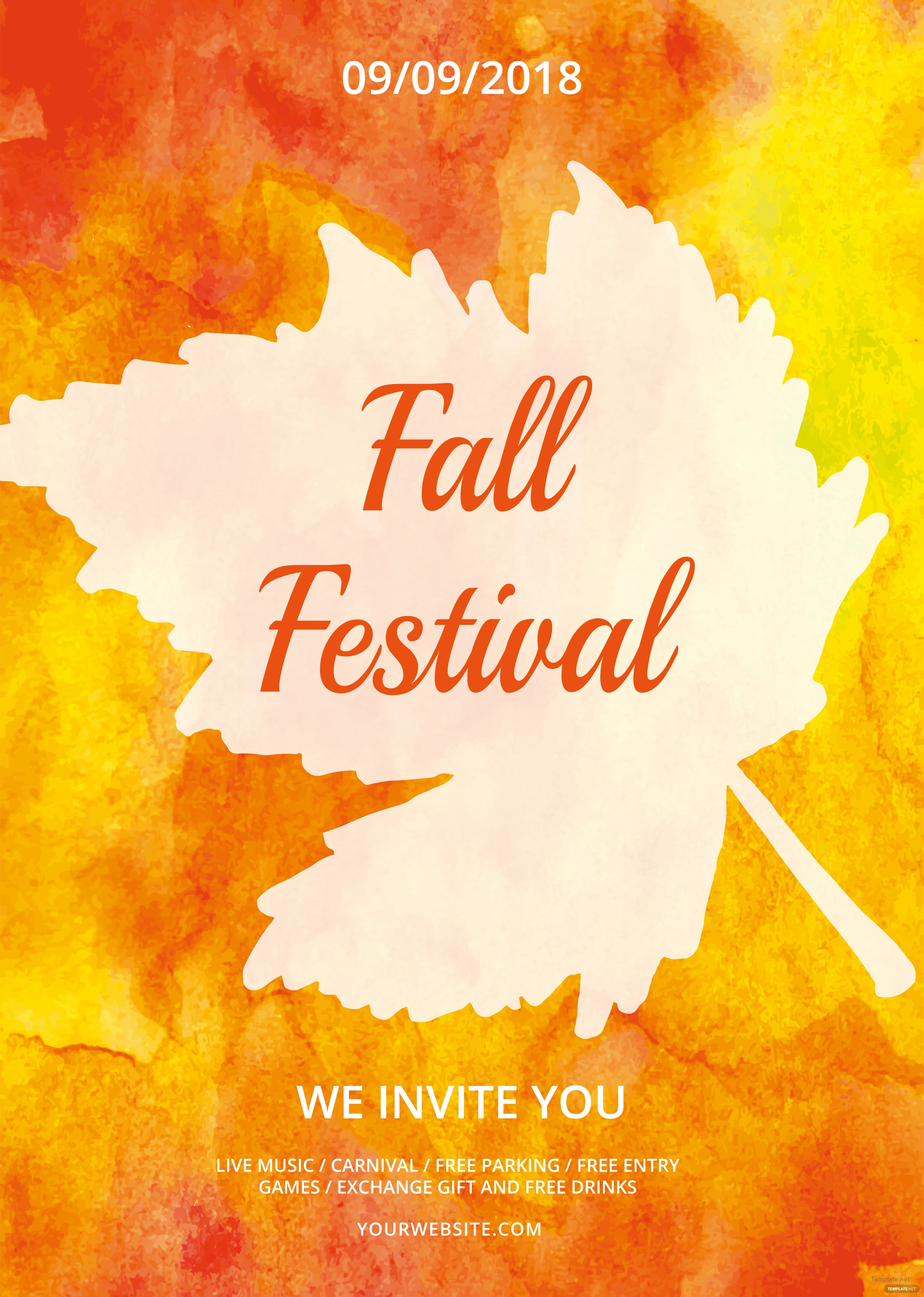 free fall festival flyer template in adobe photoshop