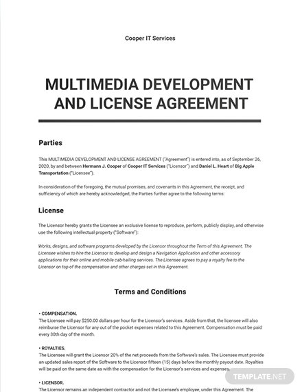 Multimedia Development and License Agreement Template