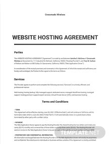Website Hosting Agreement Template
