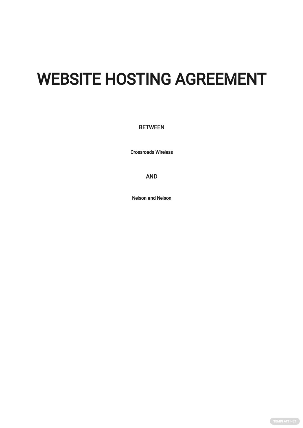 Website Hosting Agreement Template