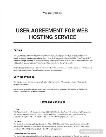 User Agreement for Web Hosting Service Template