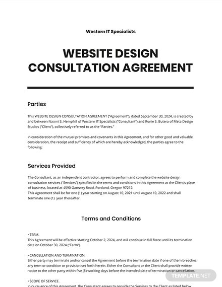 Website Design Consultation Agreement Template