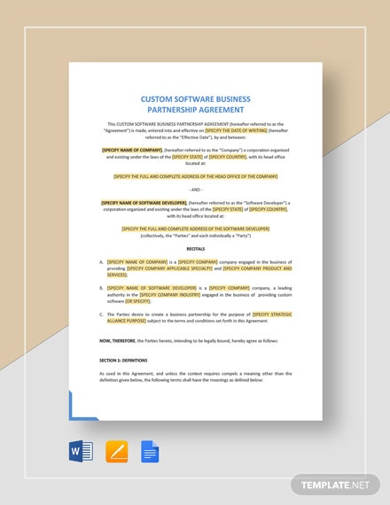 Custom Software Business Partnership Agreement Template