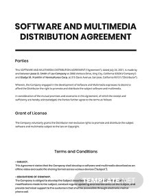 Software and Multimedia Distribution Agreement Template