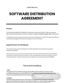 Software Distribution Agreement Template