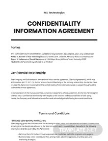 Confidential Information Agreement Template