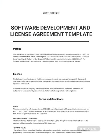 Software Development and License Agreement Template