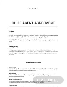 Chief Agent Agreement Short Form Template