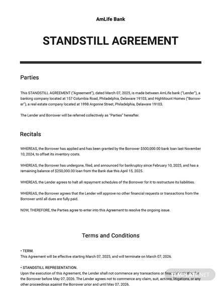 Standstill Agreement Template