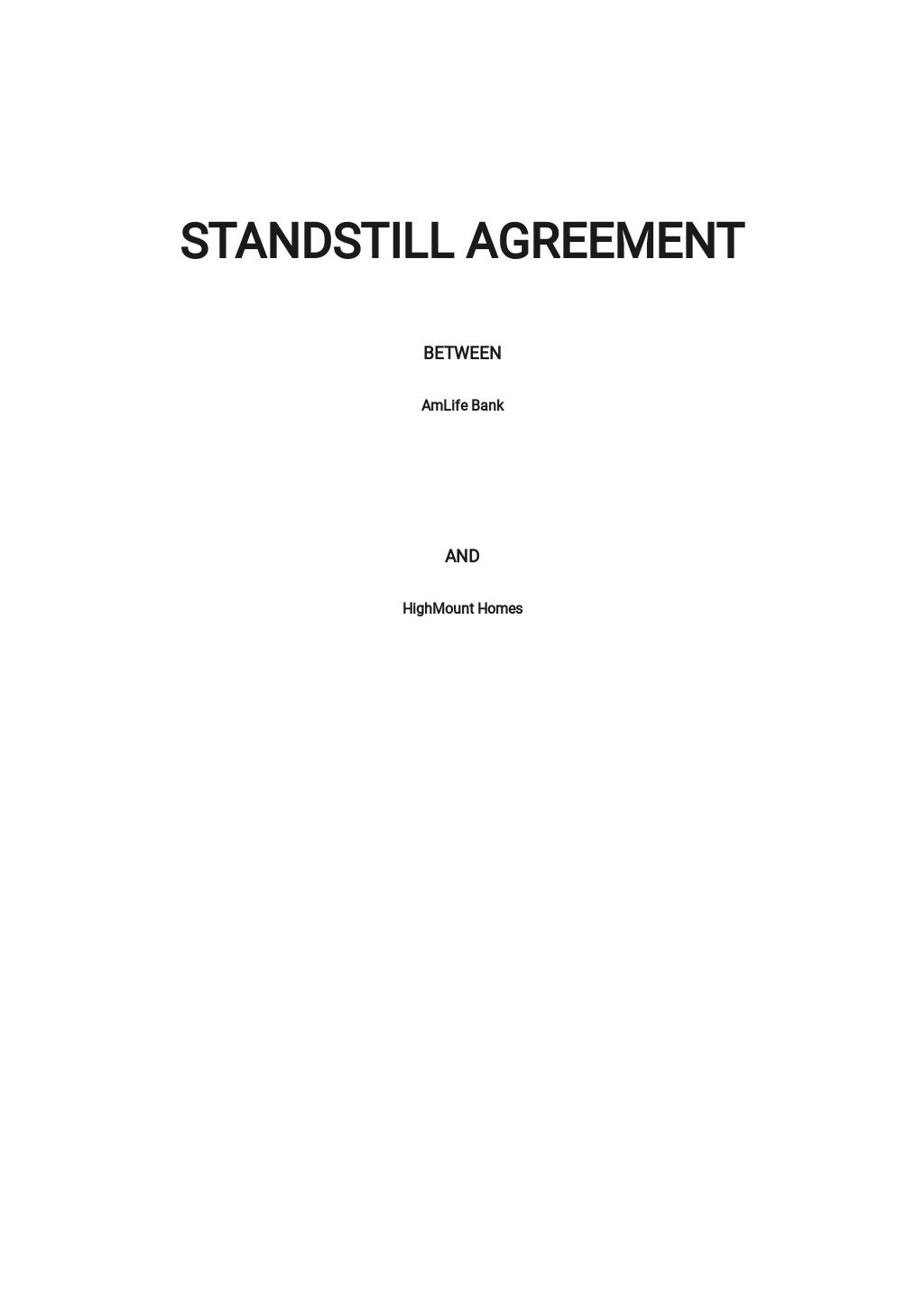 Standstill Agreement Template