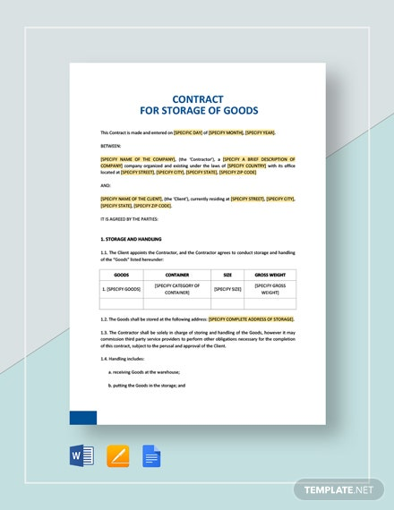 Contract for Storage of Goods Template