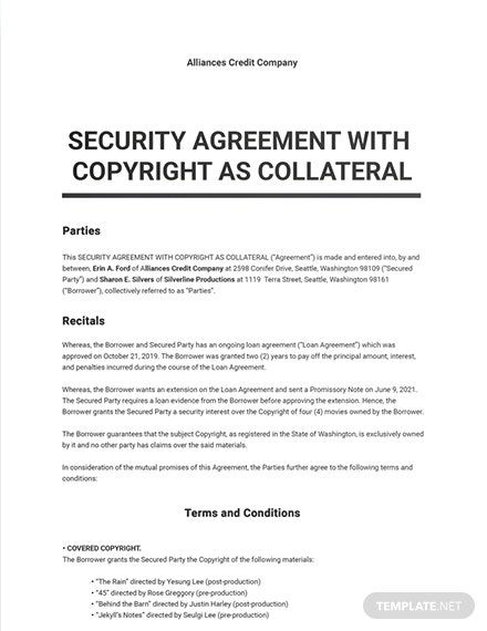 Security Agreement With Copyright As Collateral Sample