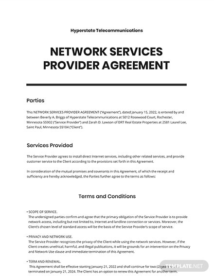 Network Services Provider Agreement