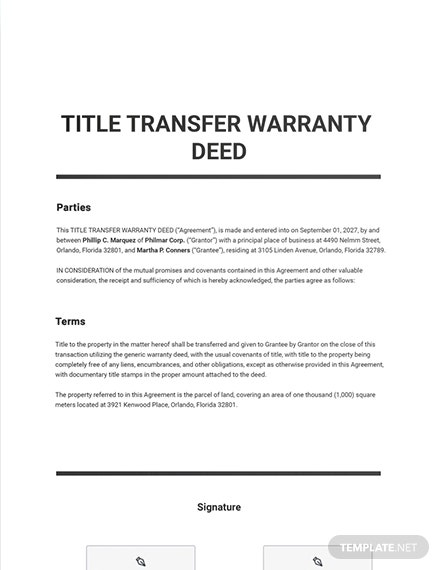 Title Transfer Warranty Deed Template