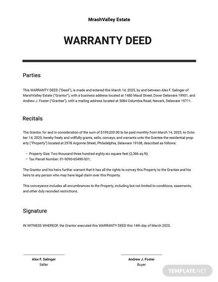 Warranty Deed Template