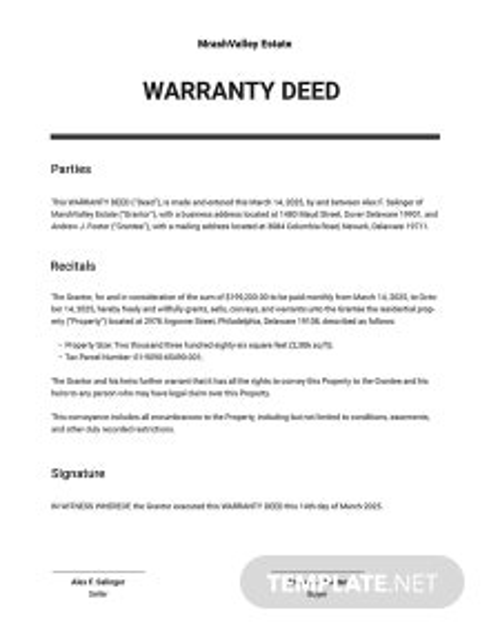 Warranty Deed Template