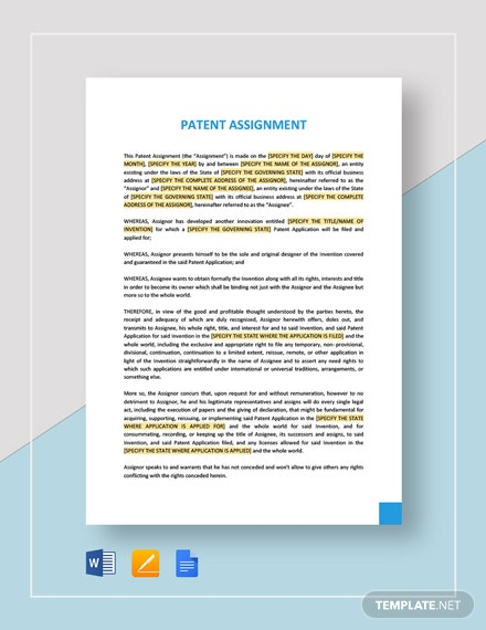 Patent Assignment Template