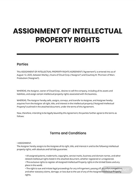 Assignment of Intellectual Property Rights Template