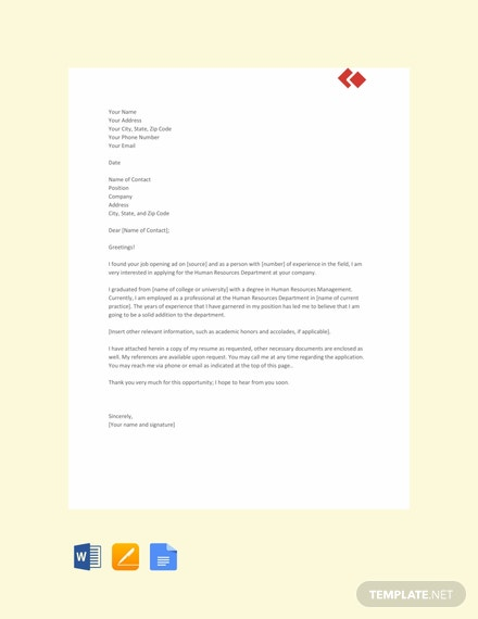 Free Experienced Hr Resume Cover Letter Template