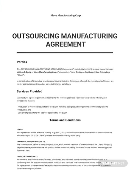 Outsourcing Manufacturing Agreement Template