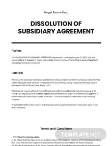 Dissolution of Subsidiary Agreement Template