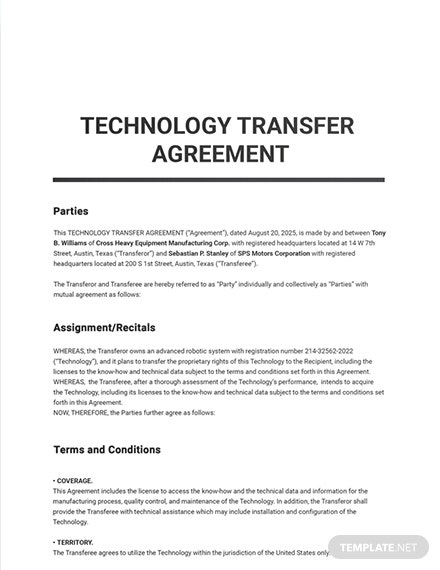 Technology Transfer Agreement Sample