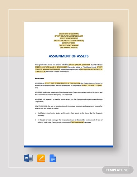 Assignment of Assets Template