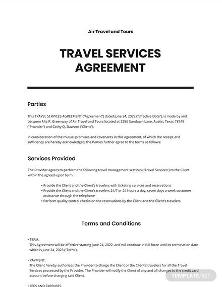 Travel Services Agreement