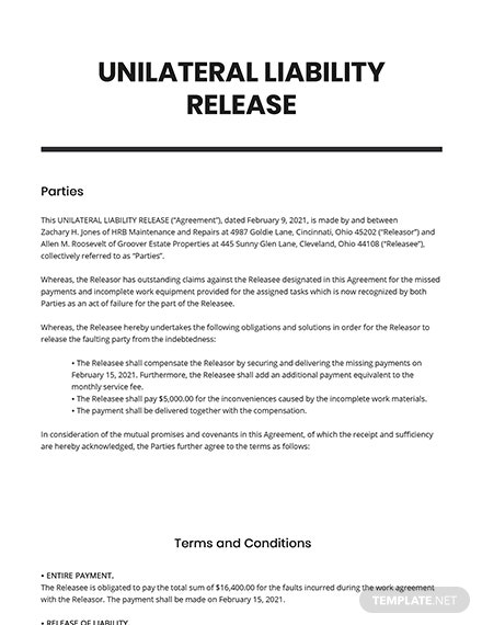 Unilateral Liability Release Template