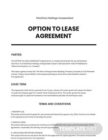 Option to Lease Agreement Template