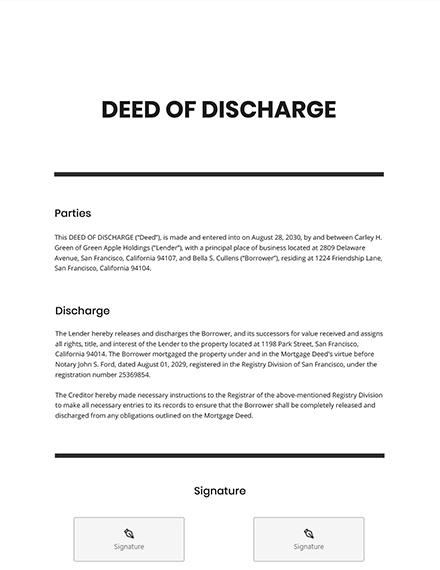 Deed of Discharge Template