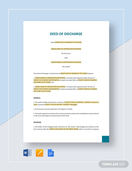 Deed of Discharge Template